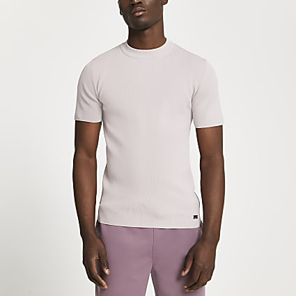 Pink slim fit smart knit t-shirt