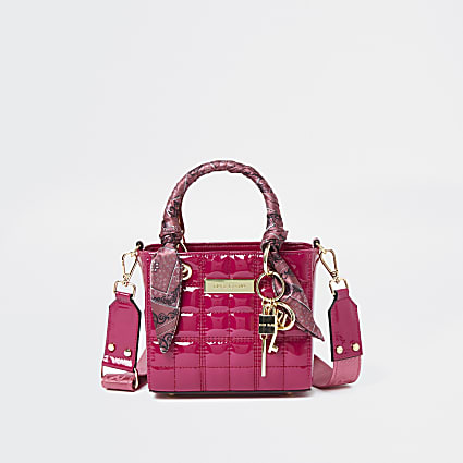 Pink Small patent quilt ken tote bag