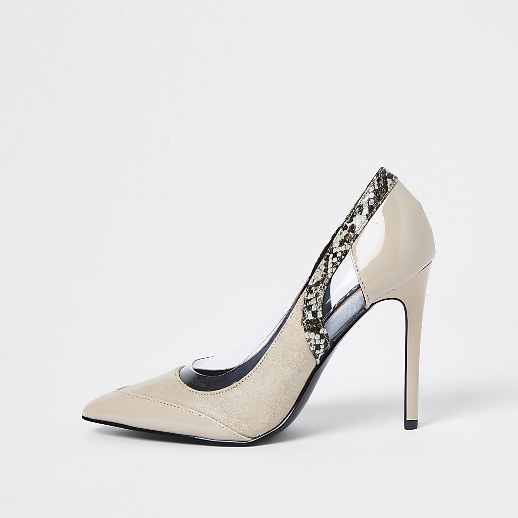Pink snake print cut out court heels