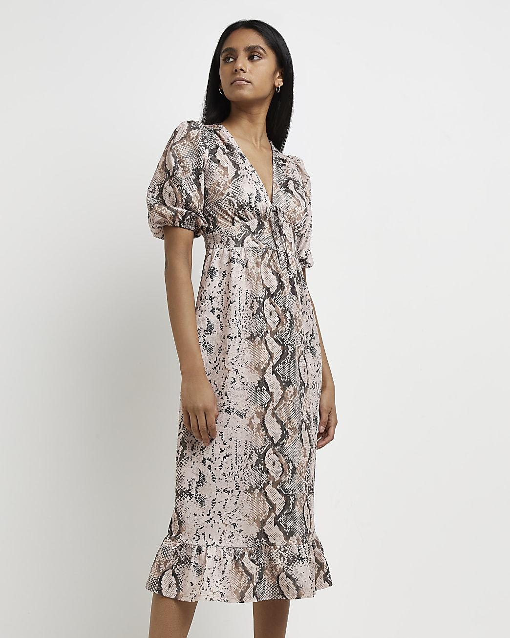 Pink snake print midi dress