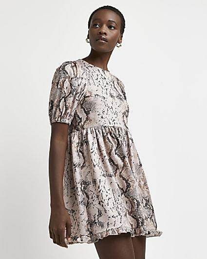 Pink snake print mini dress