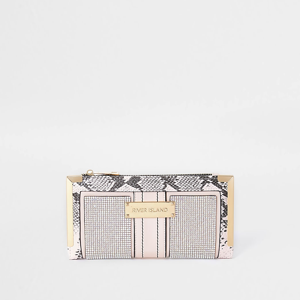 Pink snake print purse
