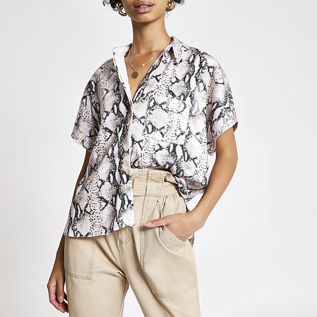 Pink snake print sequin short sleeve shirt