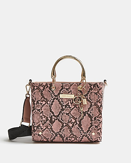 Pink snake print tote bag
