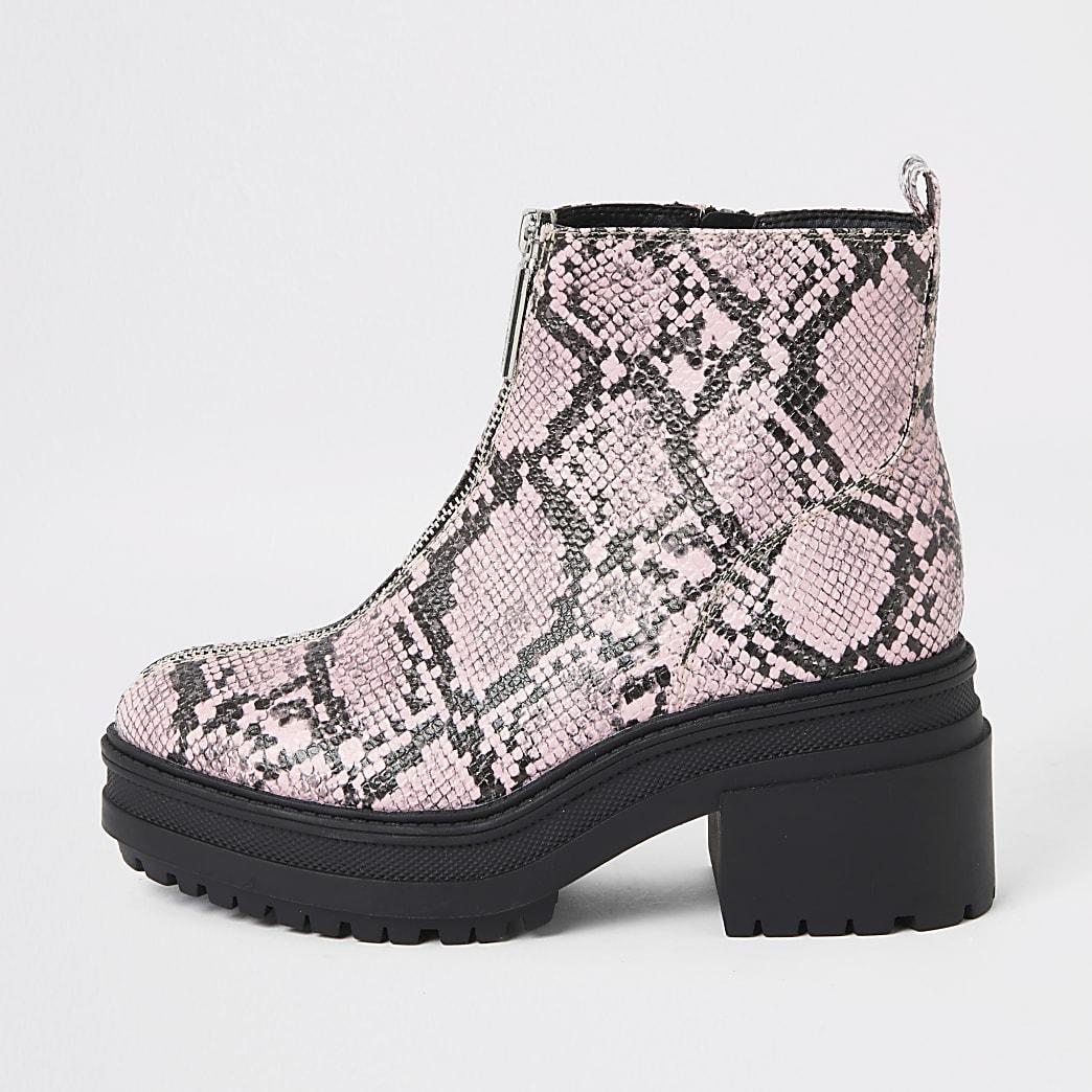 Roze stevige laarzen met rits voor en slangenprint