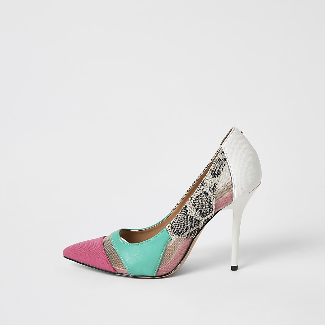 Pink snake printed mesh court shoes