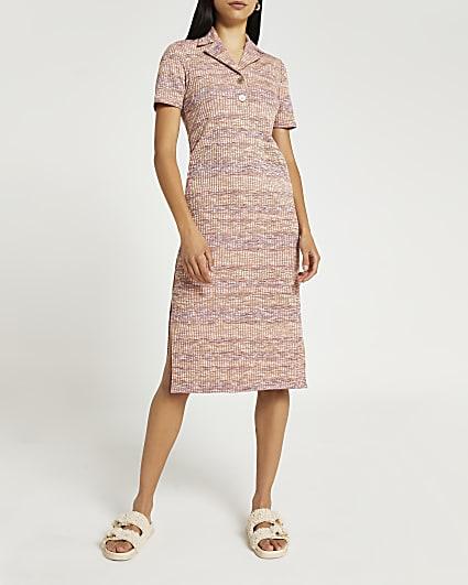Pink space dye printed midi dress