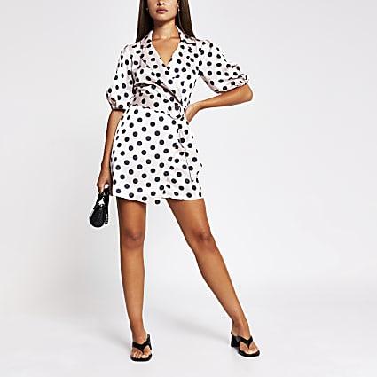Pink spot print belted shirt mini dress