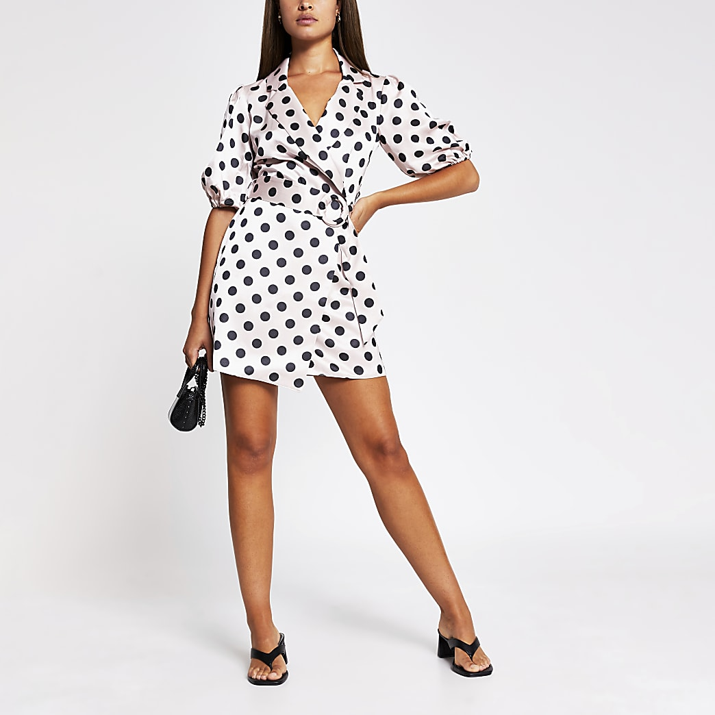 Pink spot print belted shirt mini dress