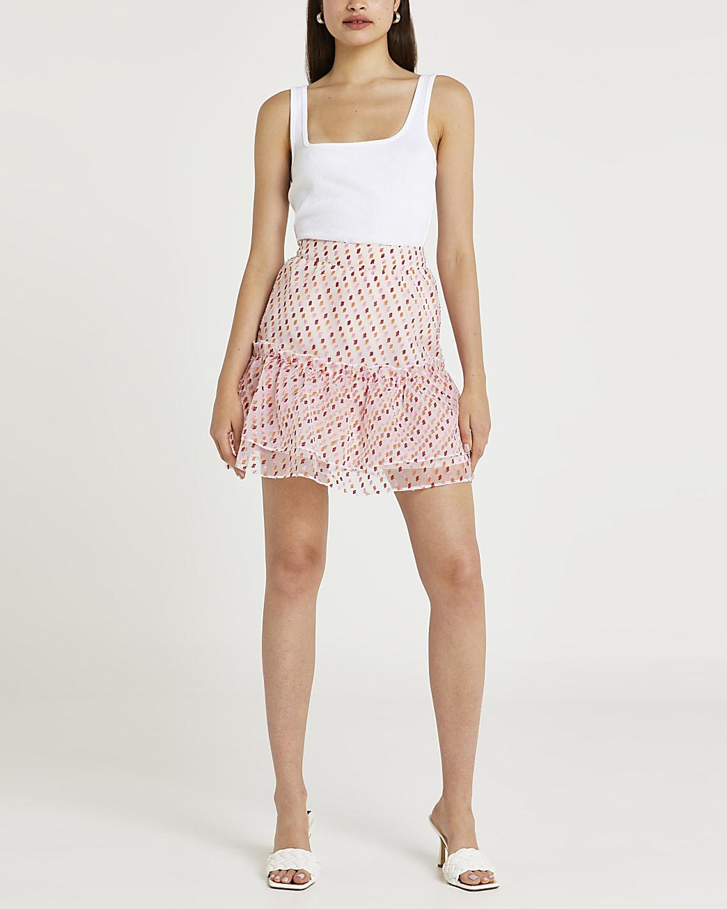 Pink spot print frill organza  mini skirt