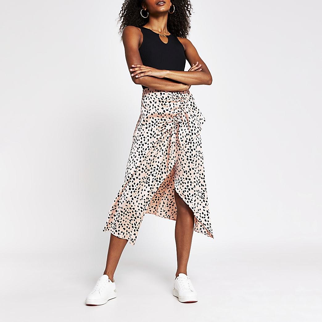Pink spot print frill wrap midi skirt