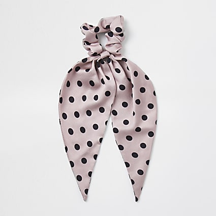 Pink spot print scarf scrunchie