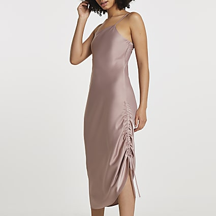 Pink square neck ruched midi slip dress