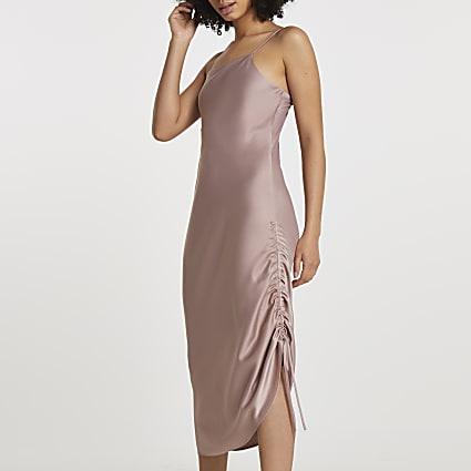 Pink square neck ruched midi slip dress
