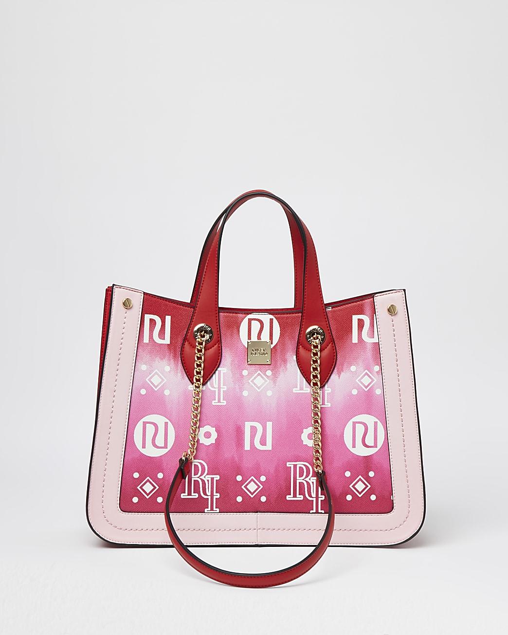 Pink square tie dye chain strap shopper bag