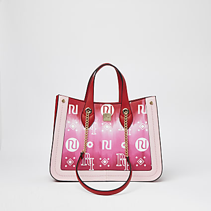 Pink square tie dye chain strap shopper bag