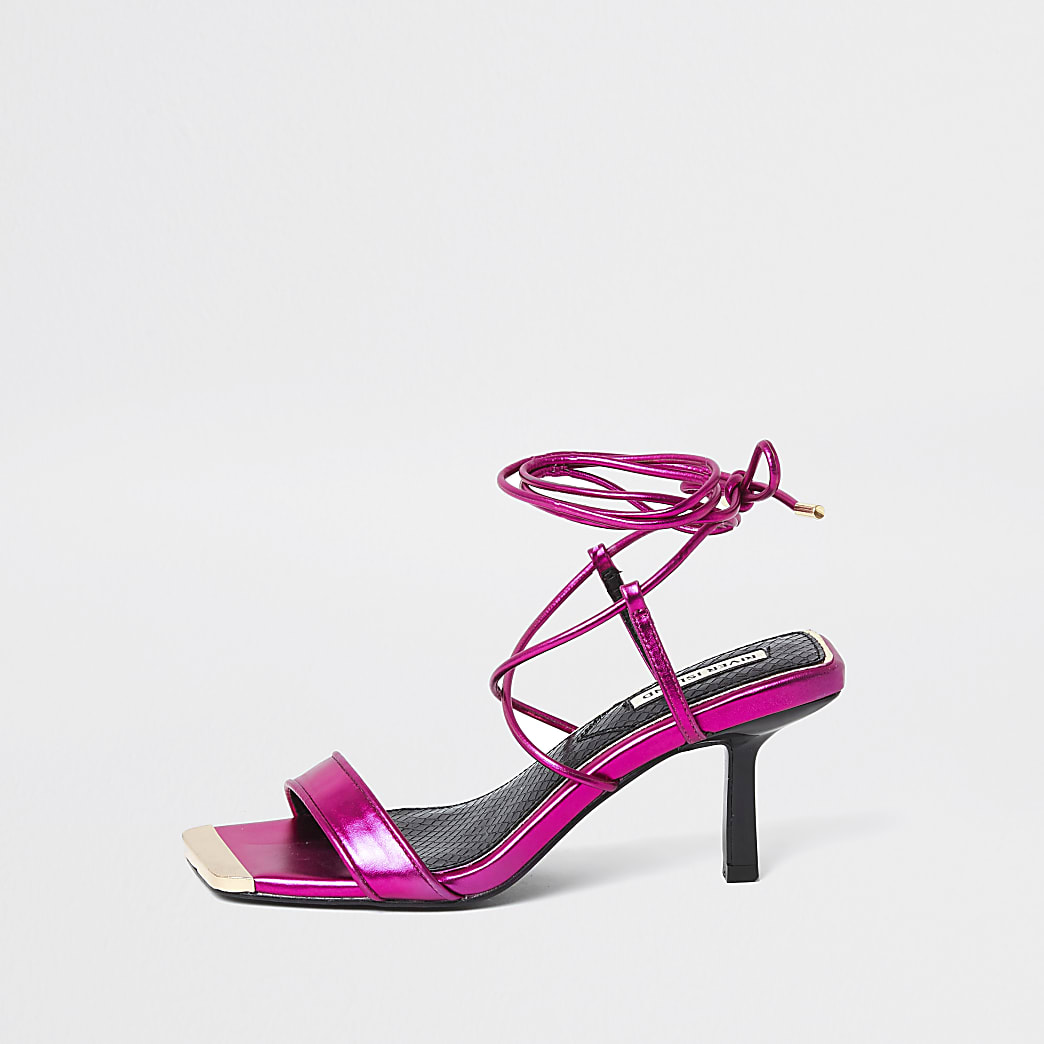 Pink Square Tie up Mid Heel Sandal