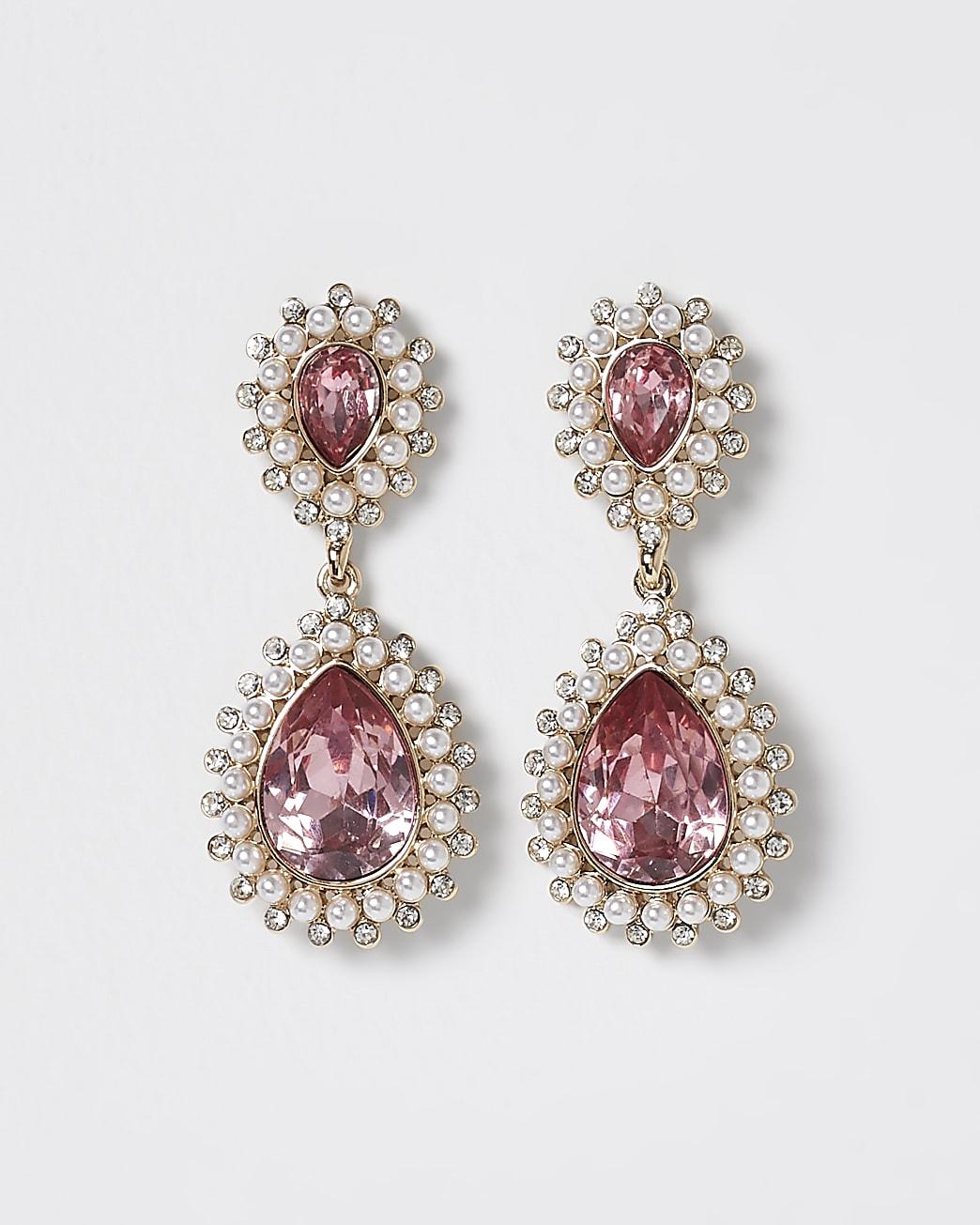 Pink stone teardrop earrings