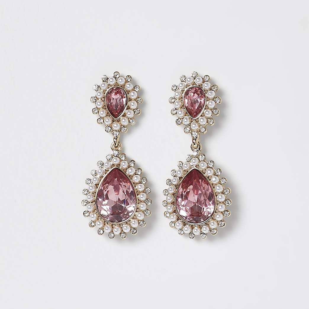 Pink stone teardrop earrings