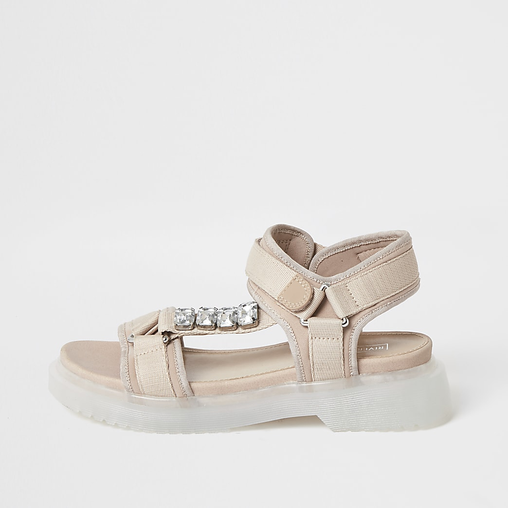 Sandales à lanières roses et semelle en gomme