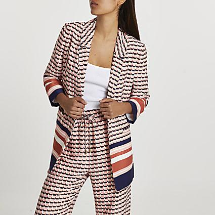 Pink stripe belted blazer