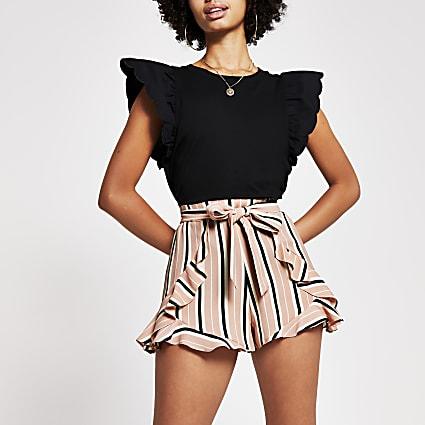 Pink stripe belted flippy short