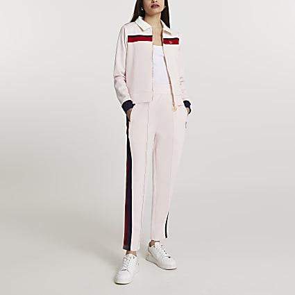 Pink stripe cigarette joggers