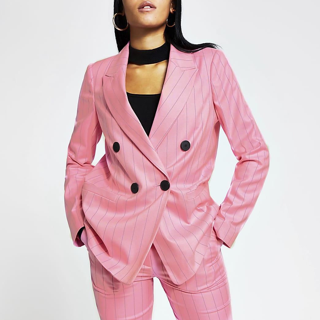 Pink stripe double breasted boyfriend blazer