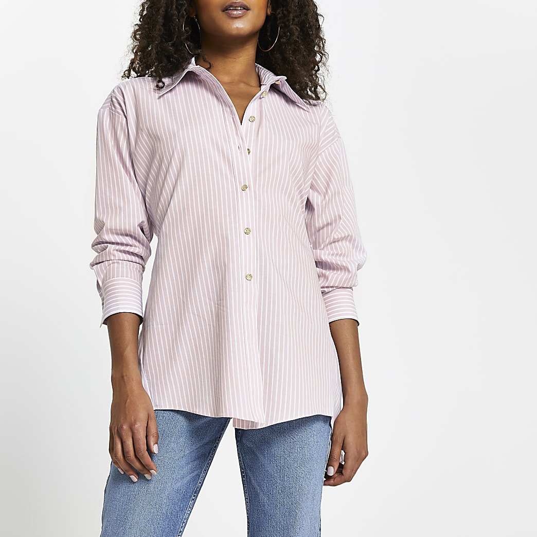 Pink stripe open back tie shirt