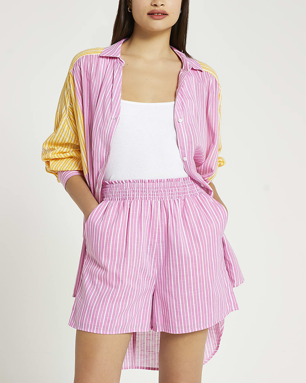 Pink stripe print mini shorts