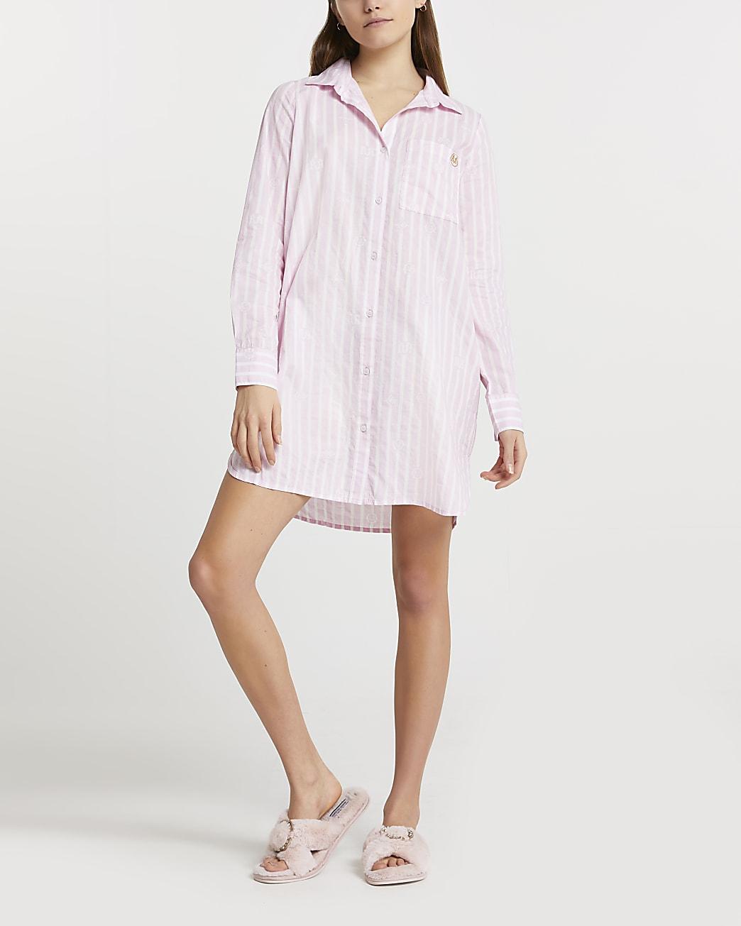 Pink stripe print oversized mini bed shirt