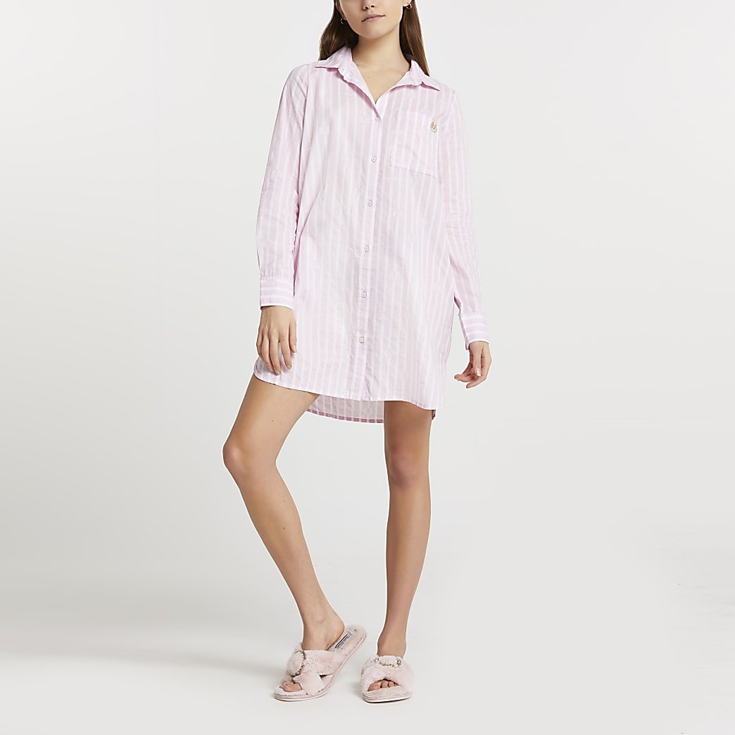 Pink stripe print oversized mini bed shirt