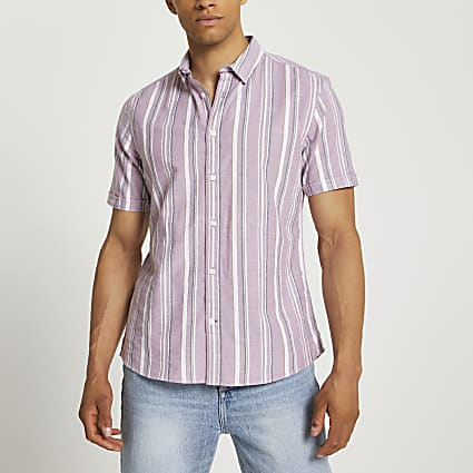 Pink stripe short sleeve shirt