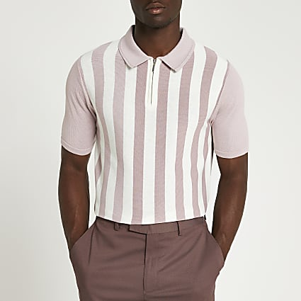 Pink stripe slim fit short sleeve polo shirt