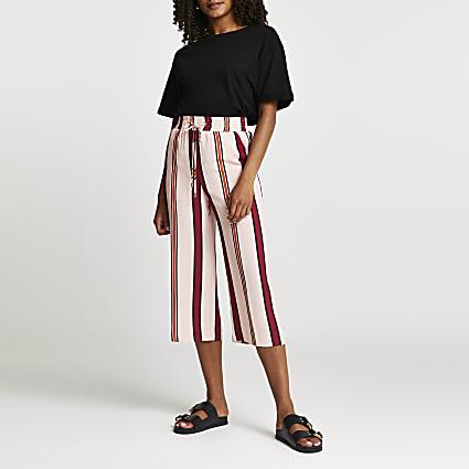 Pink stripe wide leg crop jogger trousers