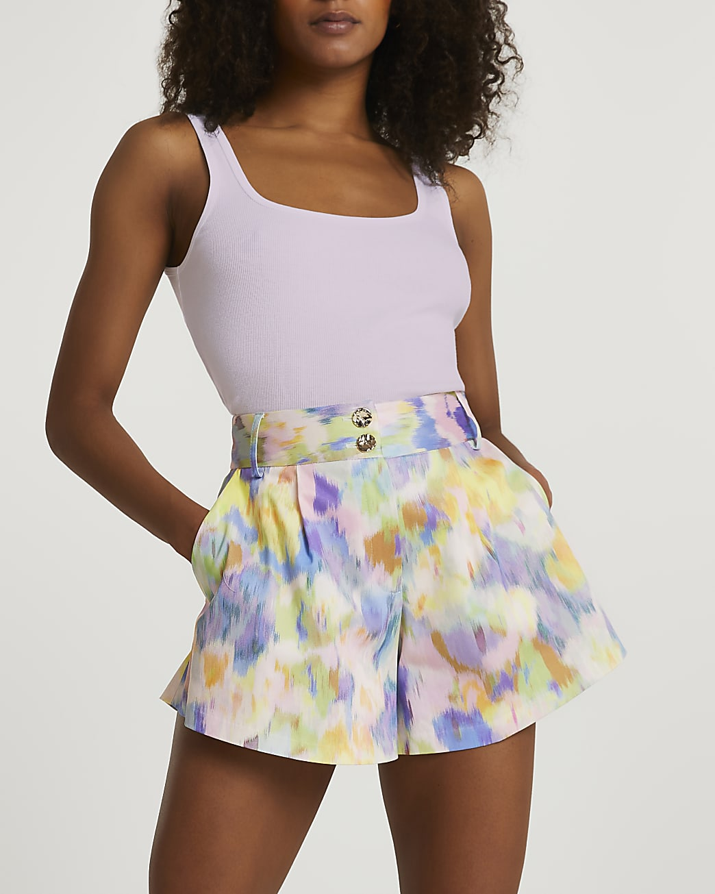 Pink structured double button shorts