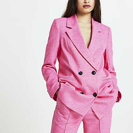 Pink structured longline blazer
