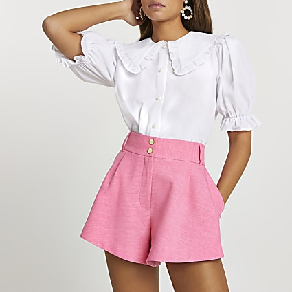 Pink structured shorts