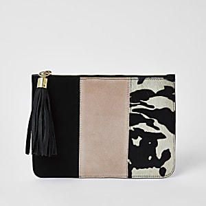 Pink suede colour blocked clutch bag