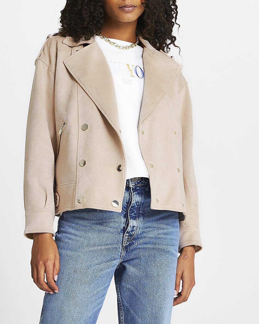 Pink suedette drop sleeve biker jacket