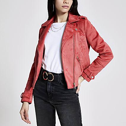 Pink suedette quilted biker jacket