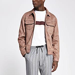 Veste zippée en suédine avec surpiqûres rose