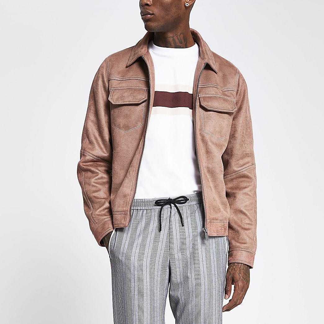 Pink suedette stitch detail zip front jacket