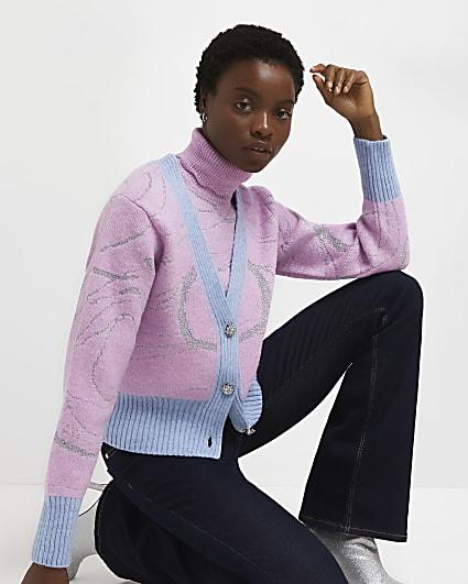 Pink swirl knitted cardigan