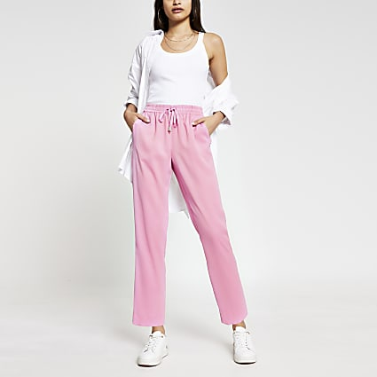 Pink tailored crepe joggers