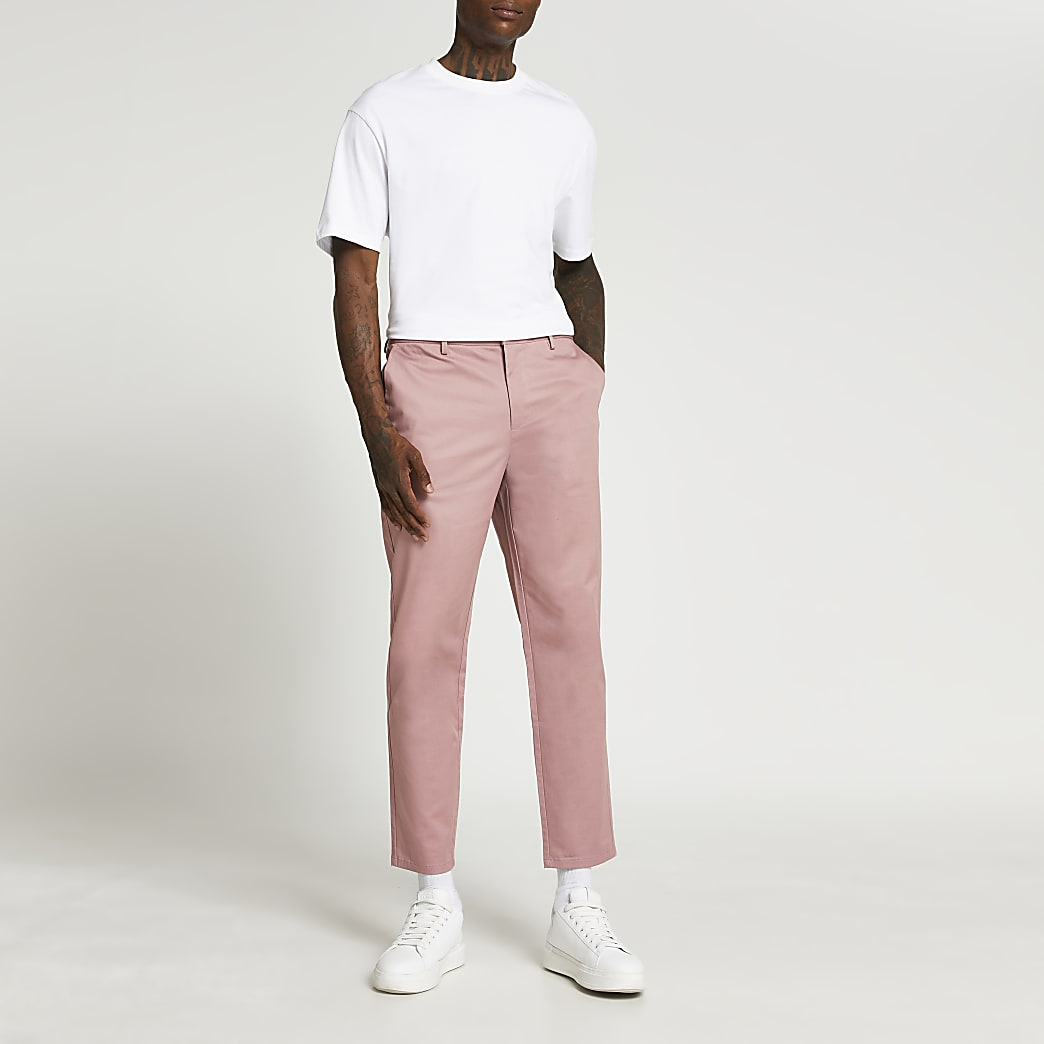 Pink tapered trousers