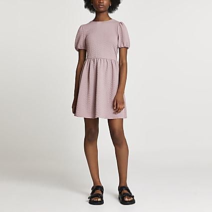 Pink textured bow back mini dress