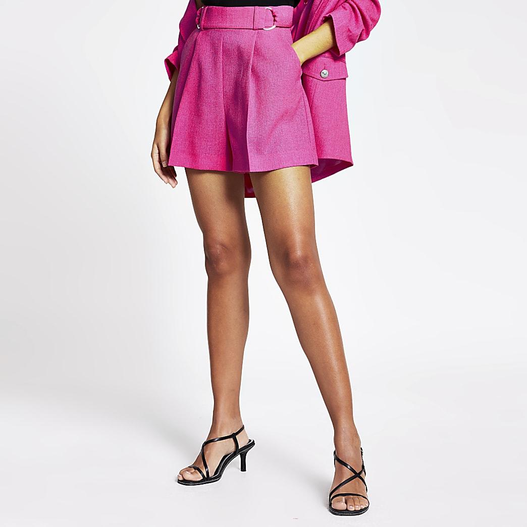 Pink textured buckle waist structured shorts