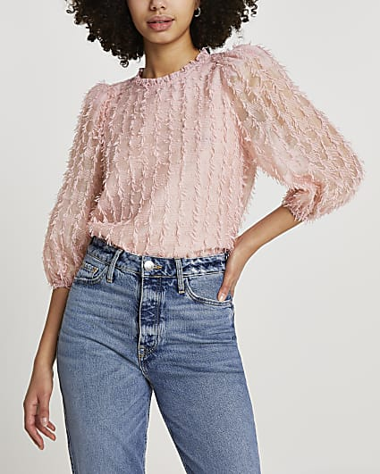 Pink textured long sleeve blouse top