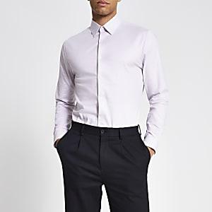 Strukturiertes, langärmeliges Slim Fit T-Shirt in Pink